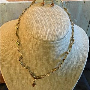 Classic Brown twist Earring & Necklace Set